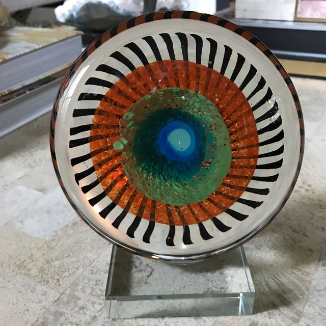 Murano Glass Eye Sculpture on Stand - Image 2 of 5