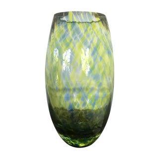 Handblown Blue and Green Glass Flower Vase