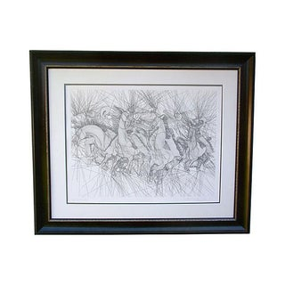 "Guillaume Azoulay Horses ""Embuscade"" Etching"