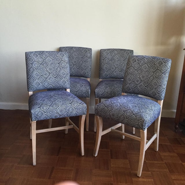 Light Wood Upholstered Blue Geometric Dining Chairs - Set ...