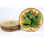 Image of Maple Leaf Majolica Dessert Plates - Set of 5
