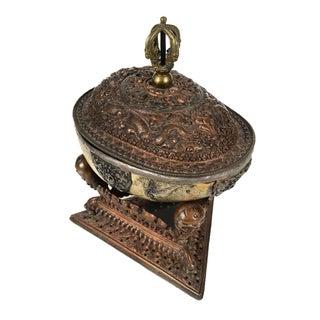 18th Century Tibetan Silver Mounted Buddhist Ritual Skull Vessel Kapala