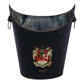 Early 1900s English Hand-Painted Tole Waste Can