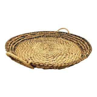 Vintage Woven Basket Tray with Handles