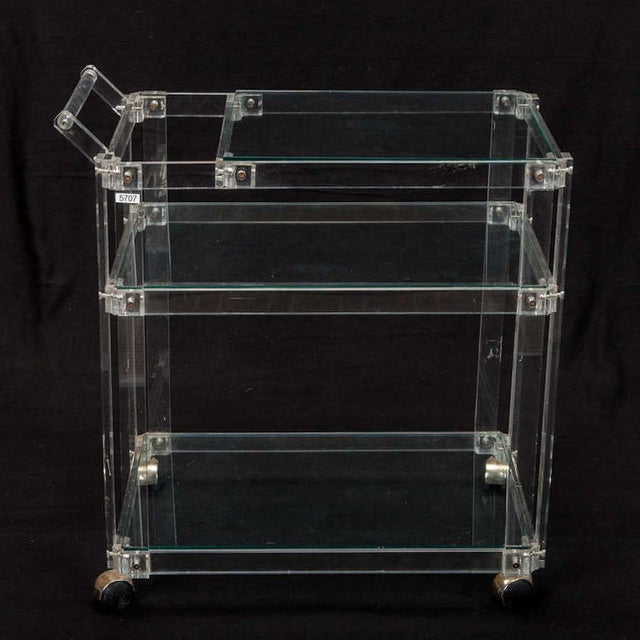 Mid-Century Lucite And Glass Bar Trolley Cart - Image 3 of 4
