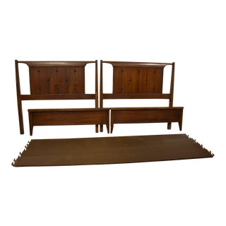 Broyhill Saga Mid-Century Modern Walnut Twin Beds- A Pair