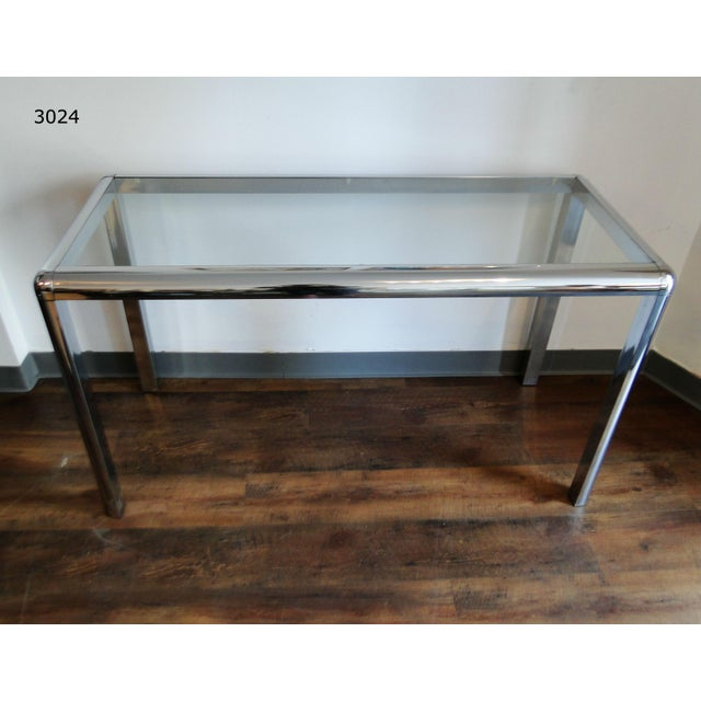 Mid Century Chrome and Glass Console Table - Image 2 of 8