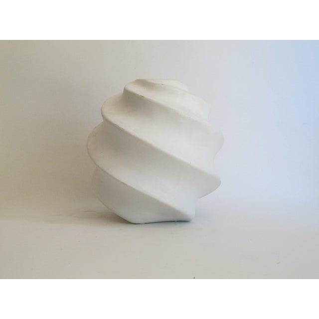 White Sculptural Ceramic Candle Holder - Image 3 of 6