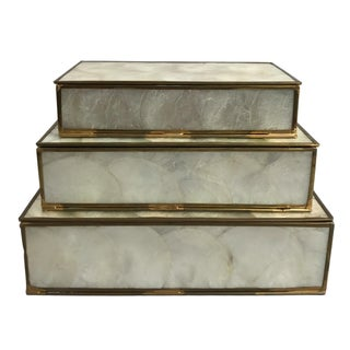 Mother-of-Pearl Stacking Boxes - Set of 3