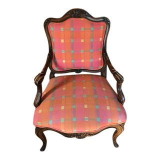 Vintage Plaid Upholstered Chairs - a Pair