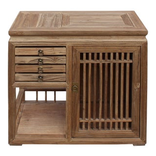 Chinese Raw Wood Open Display Storage Small Cabinet