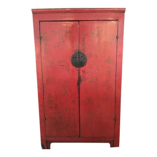 Antique Red Lacquer Chinese Wedding Cabinet