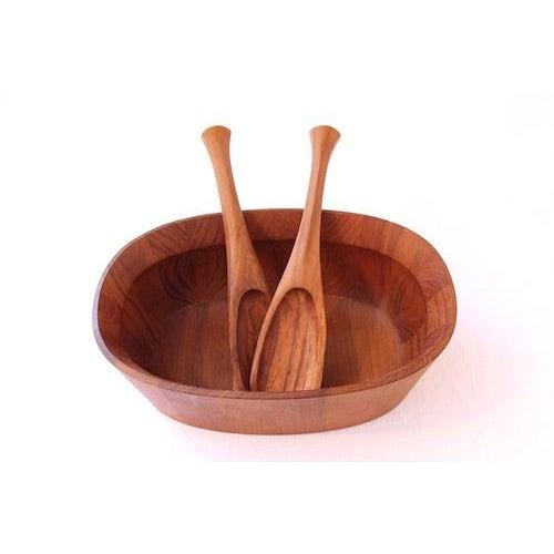 Jens Quistgaard Staved Teak Wood Bowl & Servers - Image 3 of 4