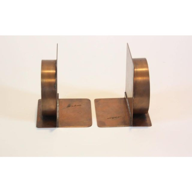 Mid-Century Modern Copper and Pewter Bookends Signed Nelson - Image 8 of 11