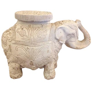 Rustic Plaster & Cement Elephant Side Table
