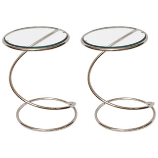 Pair of Milo Baughman Chrome and Glass Spiral Side Tables by Pace Collection