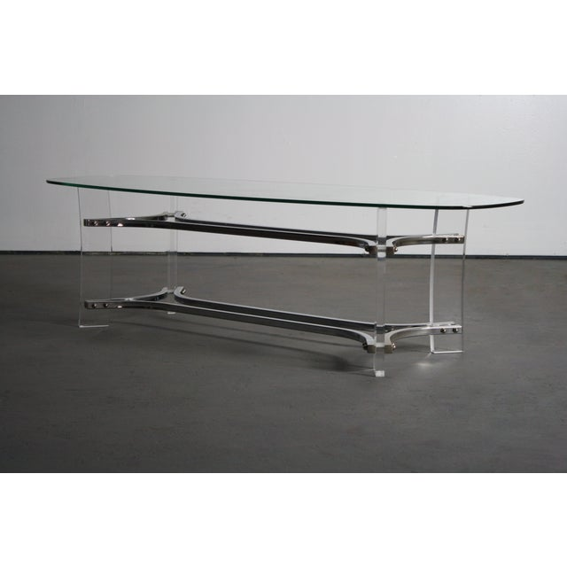 Charles Hollis Jones Lucite & Chrome Coffee Table