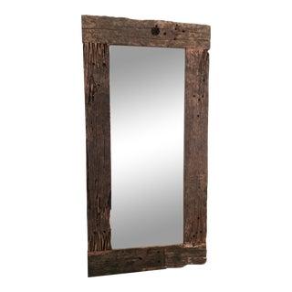 Oversized Textured Driftwood Mirror