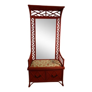 Vintage Rattan Chippendale Lacquered Raspberry Entryway Piece