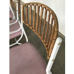 Image of Mid-Century Modern Wrought Iron & Rattan Patio Dining Chairs - Set of 5