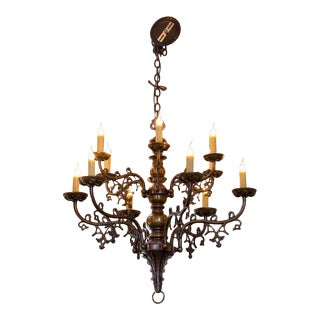 Belgian Gothic-Style Bronze Chandelier with Twelve Arms, circa 1900