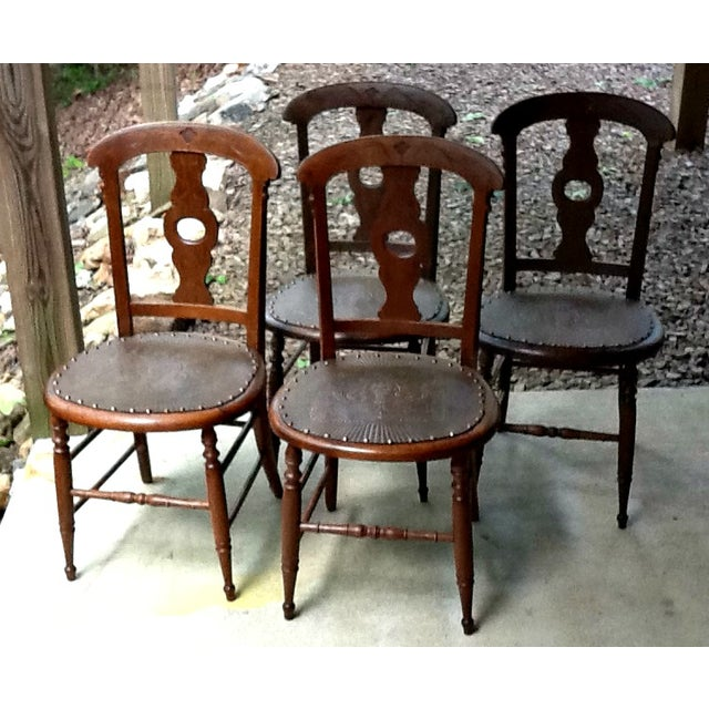 Antique Dining Chairs - Set of 4 - Image 2 of 5
