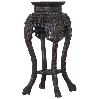 Chinese 19th Century Round Carved Hardwood Stand with Marble Inset