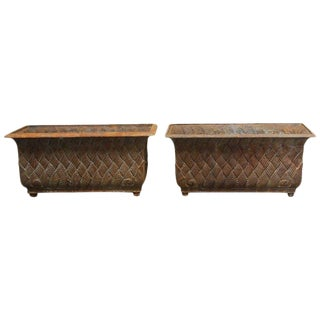 Pair of English Cast Iron Rectangular Jardinieres or Planters