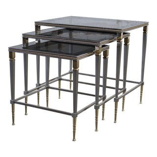 Glass Top Brass & Stainless Steel Nesting Tables- Set of 3