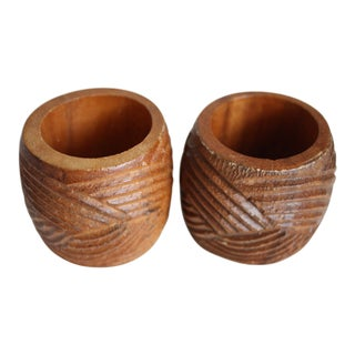 Vintage Wooden Napkin Rings - A Pair