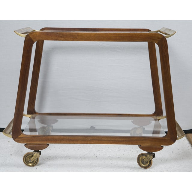 Image of Mid-Century Austrian Walnut and Brass Bar Cart
