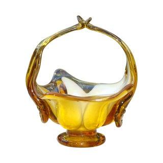 Murano Amber Blown Glass Basket
