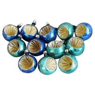 Blue & Teal 1960s Christmas Ornaments w/Box - Set of 12