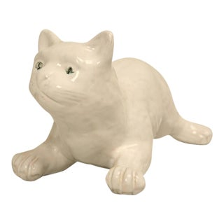 French White Pottery Cat from Normandy
