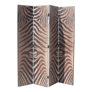 Four-Panel Hand-Painted Zebra Screen/Room Divider