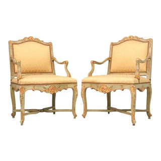 100% Original Antique Italian Painted Louis XV Armchairs - A Pair