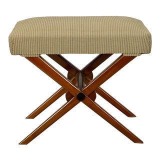 French Art Deco X Frame Upholstered Stool
