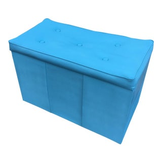 Vintage Powder Blue Vinyl Storage Hassock