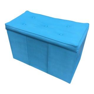 Vintage Powder Blue Vinyl Storage Hassock