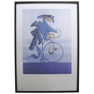 "J.P. Griffouilere ""Bird on a Bike"" Framed Print"