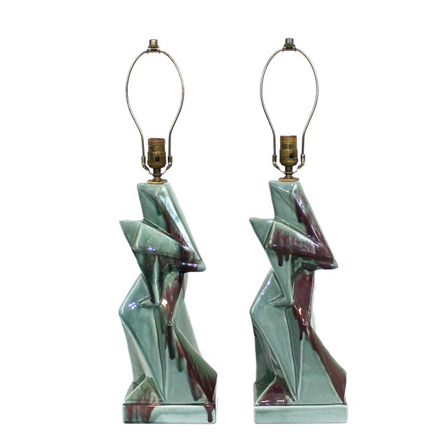 Image of 1950s Modern Cubist Ceramic Lamps - A Pair