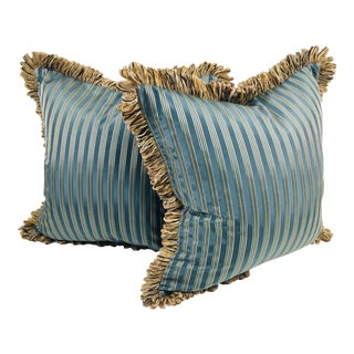 Coraggio Teal & Silver Stripe Pillows- a Pair