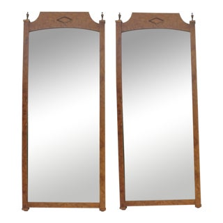 Burlwood & Brass Wall Mirrors - A Pair