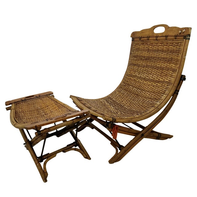 Vintage Rattan Sling Chair With Ottoman - Image 1 of 8