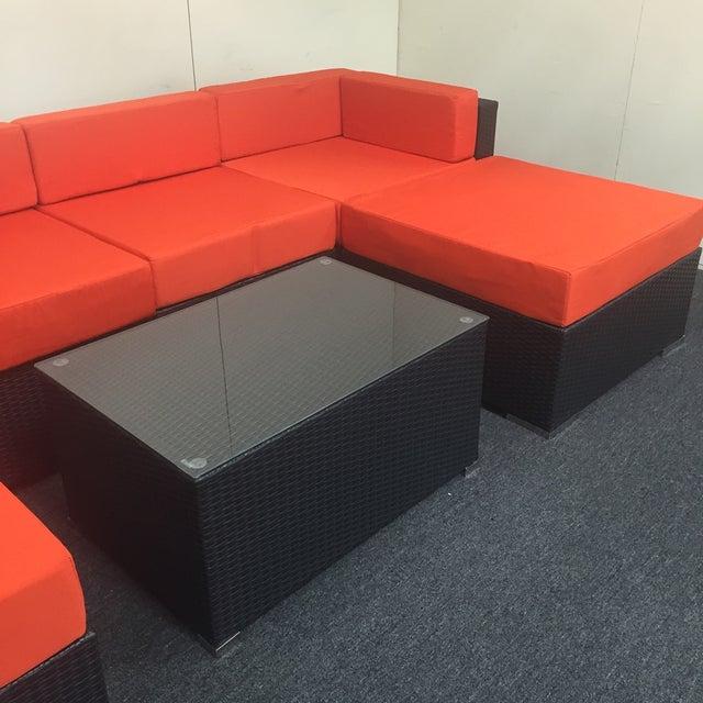 Orange Wicker Patio Set - Image 4 of 10