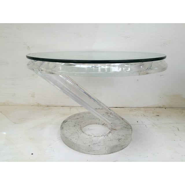 Solid Acrylic Lucite Side Table 1980s - Image 2 of 5