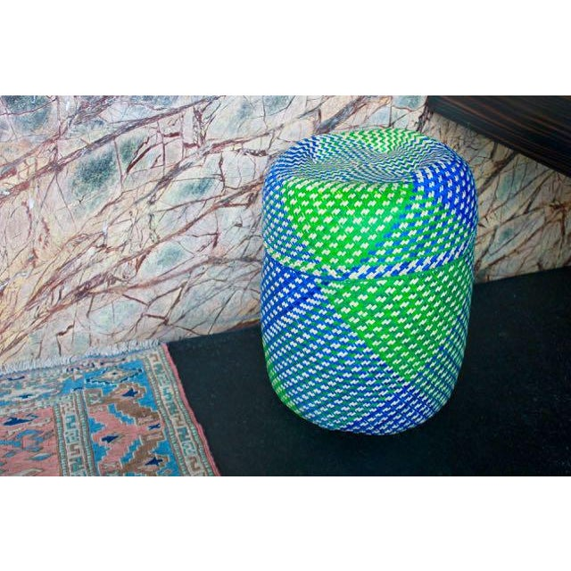 Hand-Woven Tenate Oaxacan Basket in Yellow & Blue - Image 3 of 5