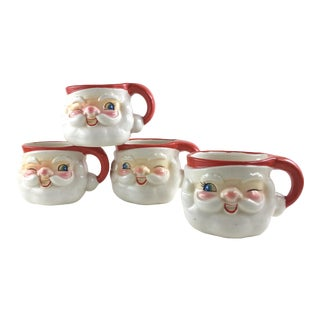 Vintage Howard Holt Winking Santa Mugs - Set of 4