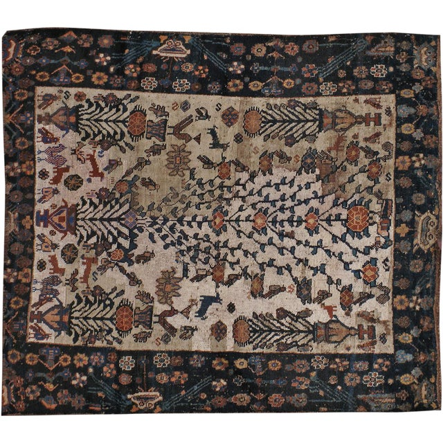"""Antique Persian Distressed Rug - 3'9"""" X 4'3"""" - Image 1 of 5"""
