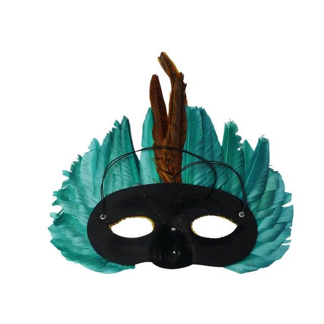 Vintage 1960s Mardi Gras Feather Mask - Image 3 of 4